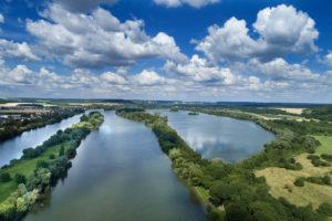 La Seine au bord de Venables vue du ciel par drone