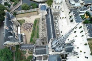 Cathédrale Notre-Dame d'Évreux vue du ciel par drone